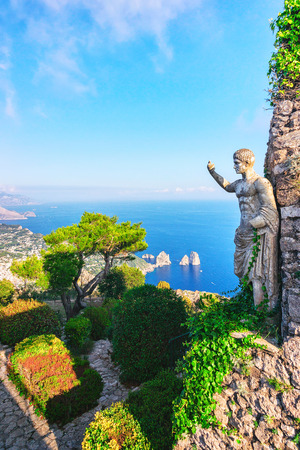 Statue and gardens of Capri Island in Tyrrhenian Sea, Italy Stock Photo