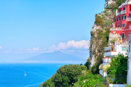 Capri Island and Mount Vesuvius in Tyrrhenian Sea, Italy Stock Photo