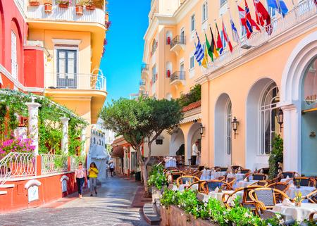Capri, Italy - October 3, 2017: Tourists at Street cafes on Capri Island, Italy Editorial
