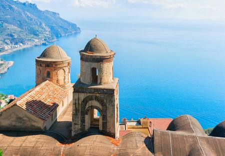 View from terrace on Tyrrhenian sea in Ravello village, Amalfi coast, Italy