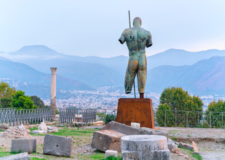 Man statue on Square at ancient city Pompeii, Naples, Italy