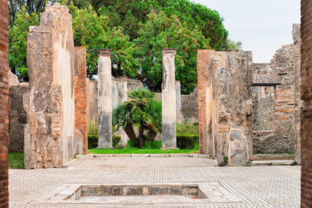 Ruins of building at ancient city Pompeii, Naples, Italy
