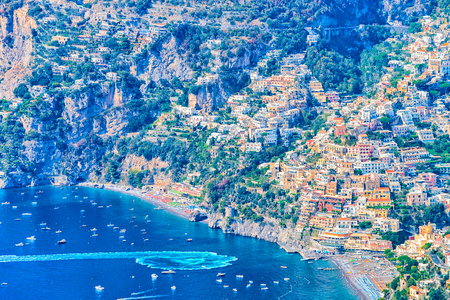 View from Path of Gods and Positano and Tyrrhenian sea, Amalfi coast, Italy