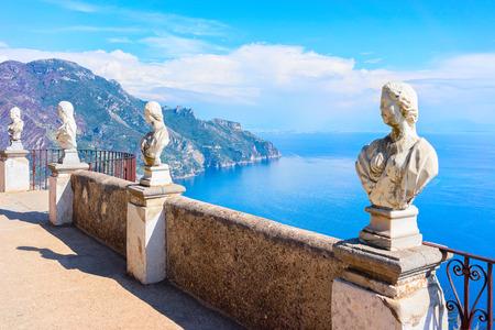 Sculptures at the terrace of Ravello village, Tyrrhenian sea, Amalfi coast, Italy