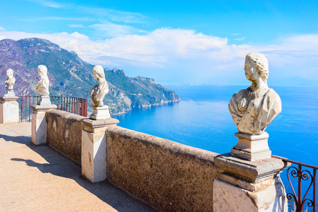 Sculptures at the terrace of Ravello village, Tyrrhenian sea, Amalfi coast, Italy