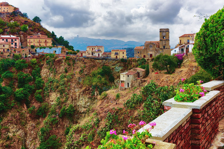 Beautiful landscape with Savoca village in the mountain, Sicily, Italy