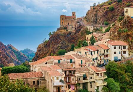 Beautiful landscape with Savoca village at the mountain, Sicily, Italy Archivio Fotografico