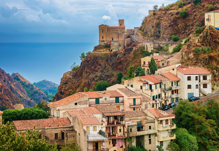 Beautiful landscape with Savoca village at the mountain, Sicily, Italy Standard-Bild