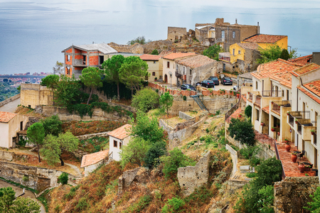 Beautiful landscape with Savoca village on the mountain, Sicily, Italy
