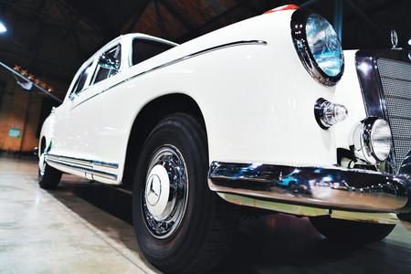 Berlin, Germany - December 11, 2017: White Retro Mercedes Benz Ponton car in the garage in Berlin, Germany