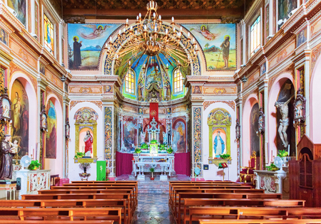 Savoca, Italy - September 27, 2017:  Interior of Church of San Michele in Savoca village, Sicily, Italy
