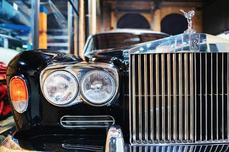 Berlin, Germany - December 11, 2017: Radiator grill of Retro car Rolls Royce in the garage in Berlin, Germany