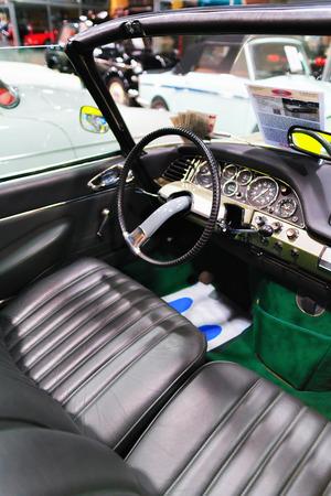 Berlin, Germany - December 11, 2017: Passenger compartment of Retro car Pontiac Thenderbird in the garage, Berlin, Germany