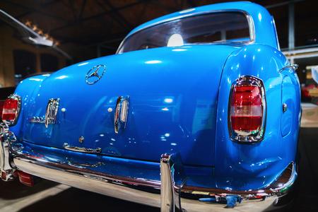 Berlin, Germany - December 11, 2017: Blue Retro Mercedes Benz Ponton car in the garage in Berlin, Germany