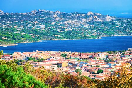 Landscape of Palau and Maddalena Island at Costa Smeralda resort in Mediterranean sea, Sardinia, Italy Stock Photo