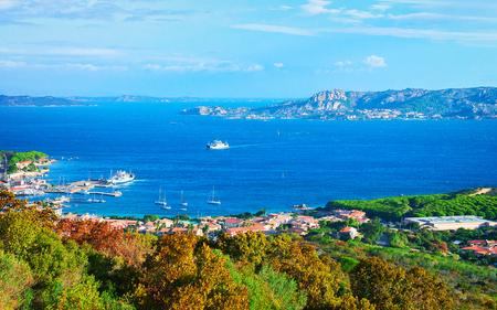 Landscape of Palau and Maddalena Island in Costa Smeralda resort in Mediterranean sea, Sardinia, Italy