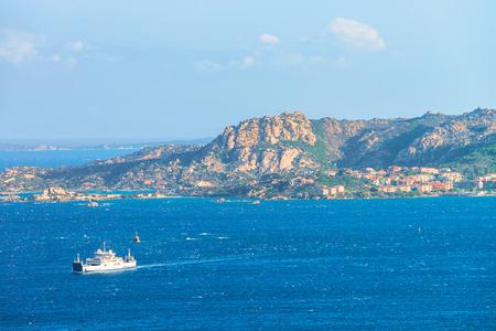 Ship at Maddalena Island in Costa Smeralda resort in Mediterranean sea, Sardinia, Italy Stock Photo