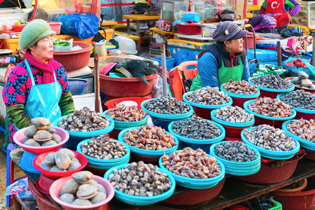 Busan, South Korea - March 12, 2016: Senior female traders selling seafood in Fish market in Jagalchi in Busan, South Korea Editorial