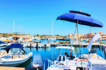 Port with boats in Villasimius, Cagliari, South Sardinia in Italy