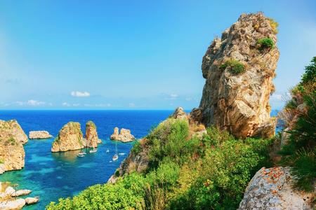 Stacks and tonnara in Scopello Mediterranean Sea Sicily, Mediterranean Sea, Sicily, Italy