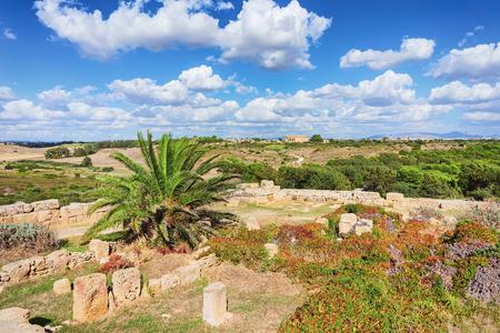 Ruins of Doric acropolis in Selinunte in Sicily, Italy Stock Photo