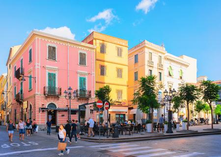 Olbia, Italy - September 11, 2017: People in street cafe at Corso Umberto Street in Olbia, Sardinia, Italy Editoriali