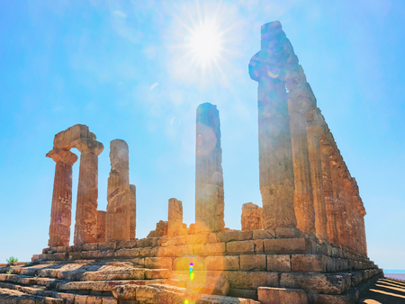 Temple of Juno at the Valley of the Temples in Agrigento, Sicily, Italy