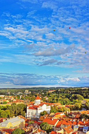 Vilnius, Lithuania - September 9, 2015: Roof tops view to Cathedral of the Theotokos and old town in Vilnius, in Lithuania