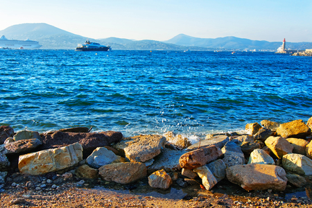 Yacht at the Mediterranean sea in Saint-Tropez, French Riviera in France in summer. Stock Photo