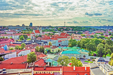 Aerial view on Presidential Palace of Vilnius, Lithuania Stock Photo