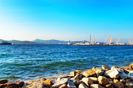 Yachts at the Mediterranean sea  in Saint-Tropez, French Riviera in France in summer.