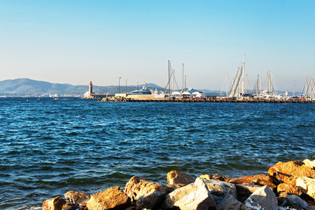 Yacht in the Mediterranean sea in  in Saint-Tropez, French Riviera in France in summer. Stock Photo
