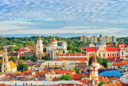 Roof top view of old town in Vilnius with churches steeples, Town Hall, Lithuania