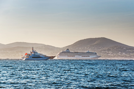 Yachts in the Mediterranean sea  in Saint-Tropez, French Riviera in France in summer.