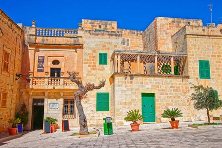 Mdina, Malta - April 4, 2014: Misrah Mesquita square in Mdina, Malta island