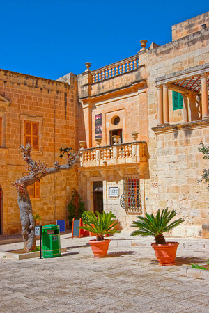 Mdina, Malta - April 4, 2014: Misrah Mesquita square in Mdina, on Malta island