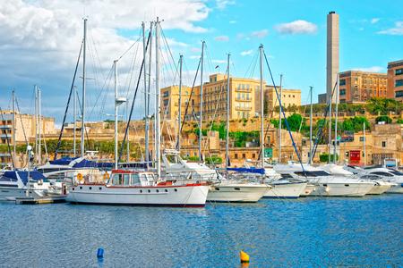 Motor boats and Msida Marina on Malta Island