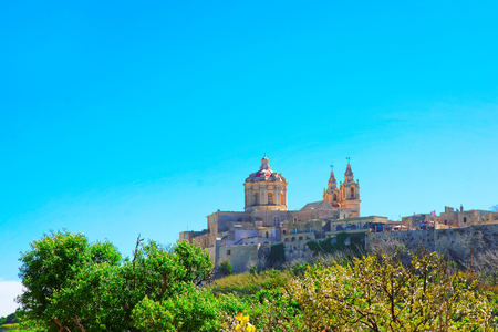 Skyline of Mdina with St Paul Cathedral in Malta Island