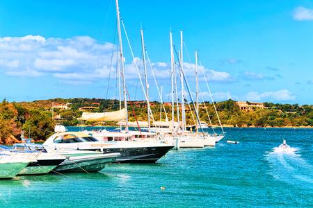 Landscape with Luxury yachts in marina of Porto Cervo resort, Costa Smeralda Sardinia, in Italy. Stockfoto