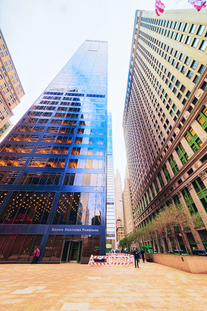 New York, USA - April 24, 2015: The Brown Brothers Harriman building in New York City, USA. The investment bank is the oldest in the United States