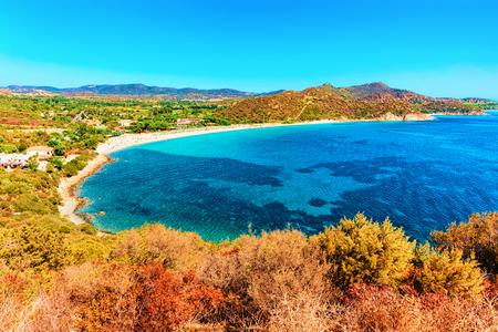 Beach at Villasimius in the Mediterranean sea, South Sardinia, in Italy Stockfoto