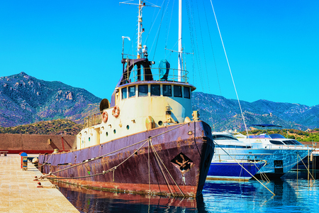 Port with ship in Villasimius, Cagliari, South Sardinia in Italy