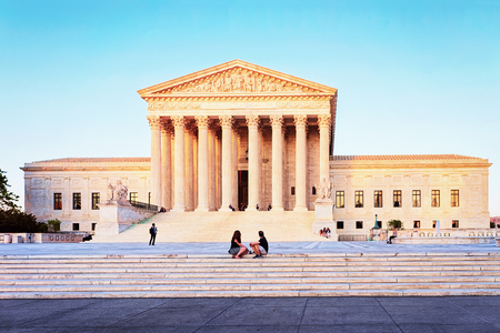 Washington DC, USA - May 3, 2015: United States Supreme Court Building  at Washington D.C., US. It is seat of the Supreme Court. It was built in 1935. Architect of building was Cass Gilbert Editorial