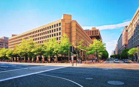 Washington D.C., USA - May 3, 2015: J. Edgar Hoover Building located in Washington DC, USA. It is main building of Federal Bureau of Investigation or FB