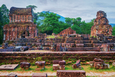 Ruins of Old hindu temples at My Son, Vietnam 写真素材