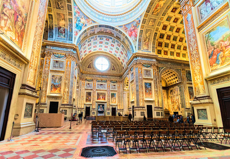 Mantua, Italy - October 22, 2016: Interior of Church of Sant Andrea Montegna of Mantua, Lombardy, Italy