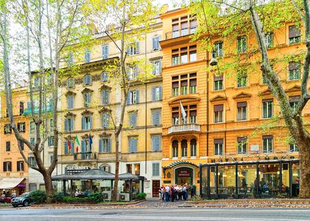 Rome, Italy - October 14, 2016: Cozy street in Via Vittorio Veneto, Rome in Italy