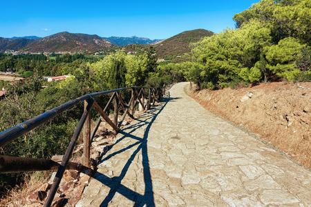 Pathway at the Chia beach near the Mediterranian Sea, Sardinia, Italy