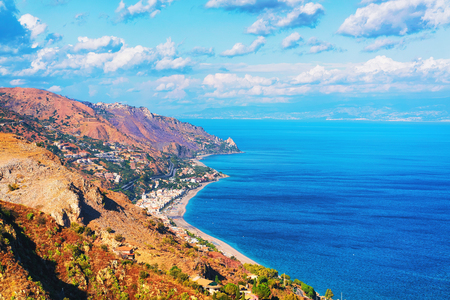 Landscape of Taormina and the Mediterranean Sea, Sicily, Italy