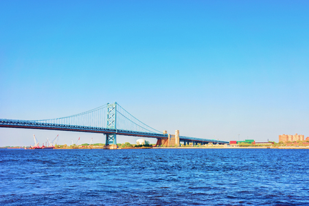 Benjamin Franklin Bridge above the Delaware River in Philadelphia, Pennsylvania, the USA.